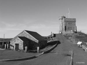Cabot Tower and Gunpowder Magazine Black and White