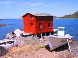 Salvage Boathouse and Boat